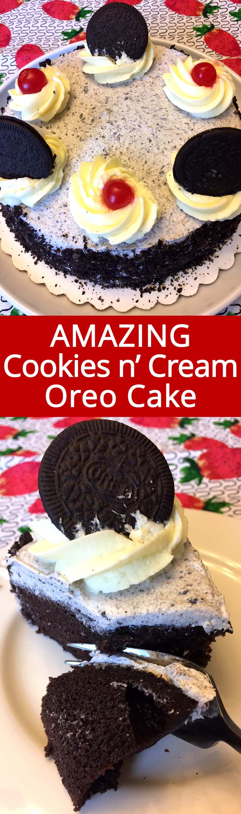 This cookies and cream oreo cake is amazing! I can eat this whole cake at once! So easy to make, this is my go-to cookies n cream cake recipe! #oreo #oreocake #cookiesandcream #cake
