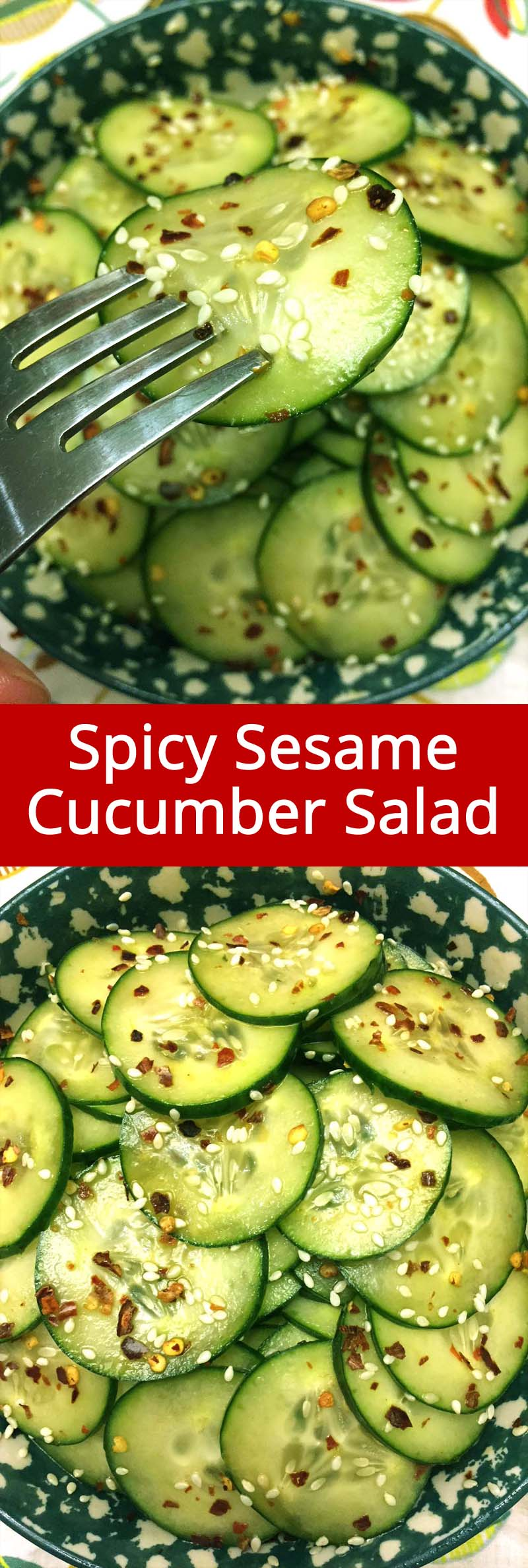 I love this Asian sesame cucumber salad! So yummy marinated in vinegar with sesame seeds and spicy red pepper flakes, mmmmm! So addictive, I can crunch those sesame cucumber slices all day!