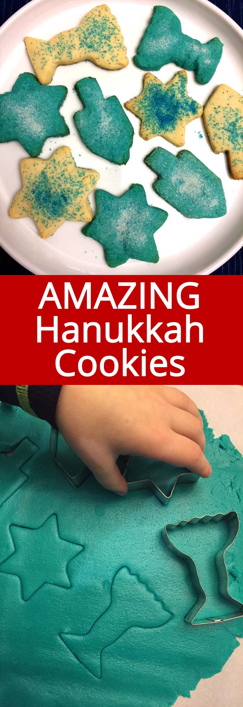 These traditional Hanukkah cookies are amazing! So easy to make, just roll, cut out and bake! This mouthwatering cookies are a hit of every Hanukkah party! #Hanukkah #Chanukkah