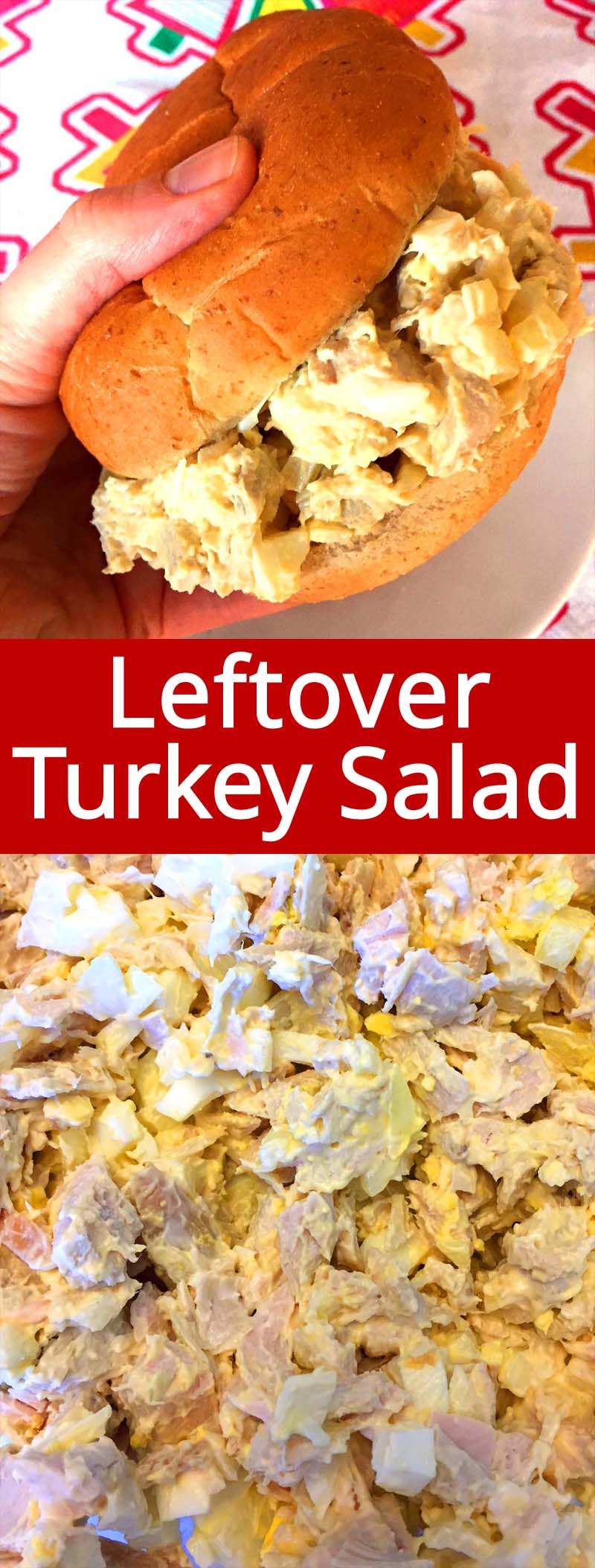 This turkey salad recipe is my favorite way to use up leftover turkey! Chopped turkey, onion, egg and creamy mayo - yum! Put this turkey salad on a bun to make a sandwich, or just eat it straight out of the bowl!