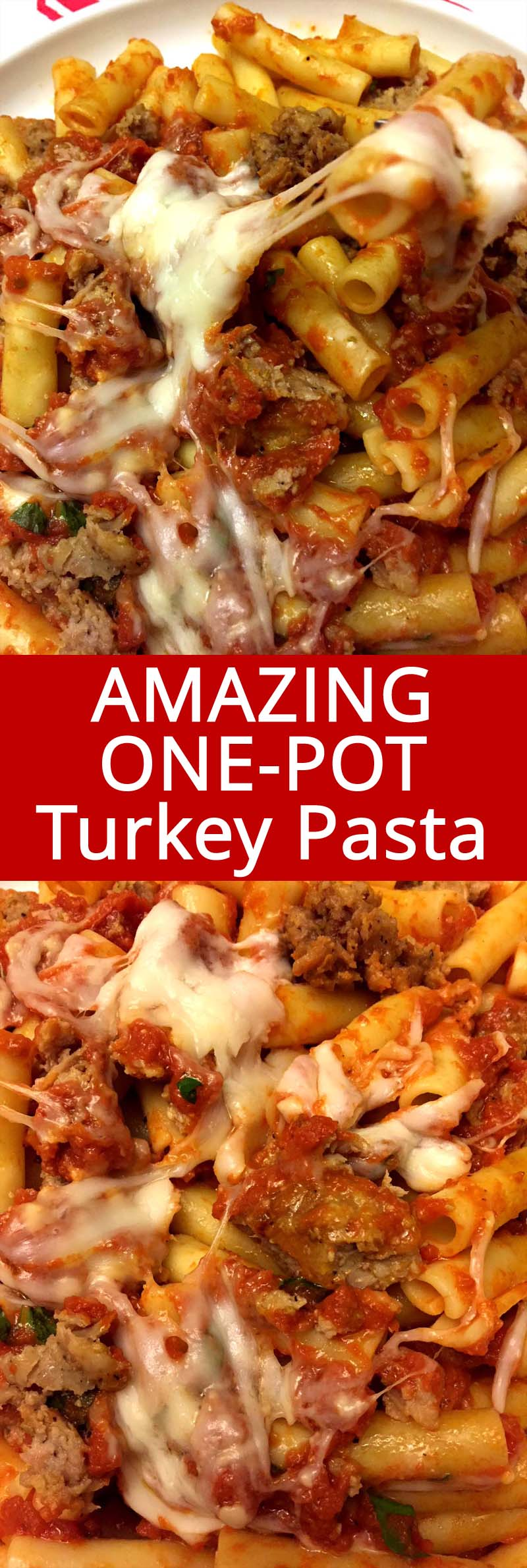 This one turkey pasta recipe is amazing! You can make it with ground turkey or beef, it's so easy to make and so yummy with melted cheese! I love this one pot pasta!