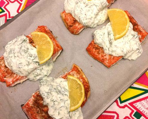 Baked Salmon With Creamy Garlic Sauce