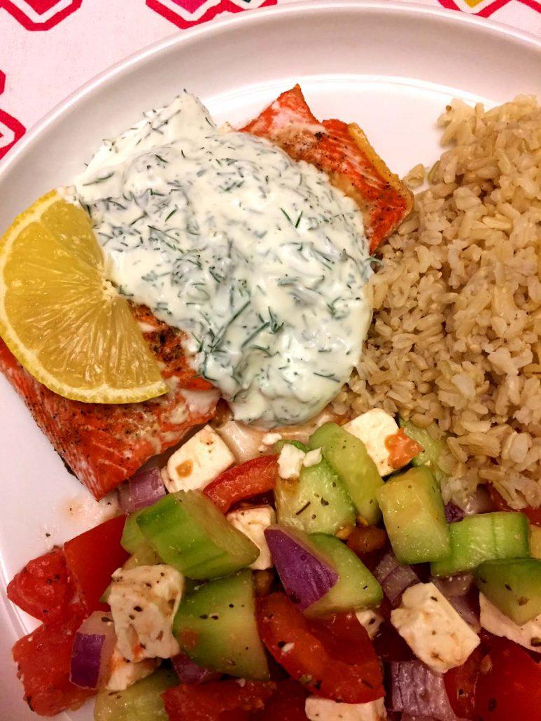 Salmon Dinner With Yogurt Sauce, Rice And Salad