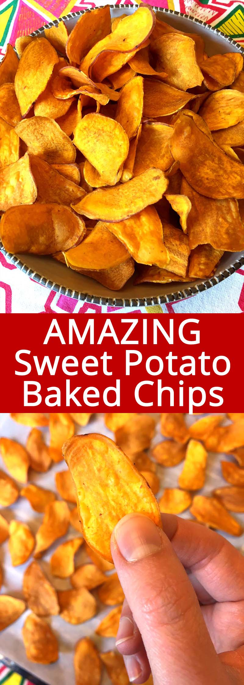 These oven baked sweet potato chips are amazing! They are so crunchy and addictive! What a perfect healthy snack, I love this easy baked sweet potato chips recipe! #sweetpotatoes #sweetpotato #chips #veggiechips