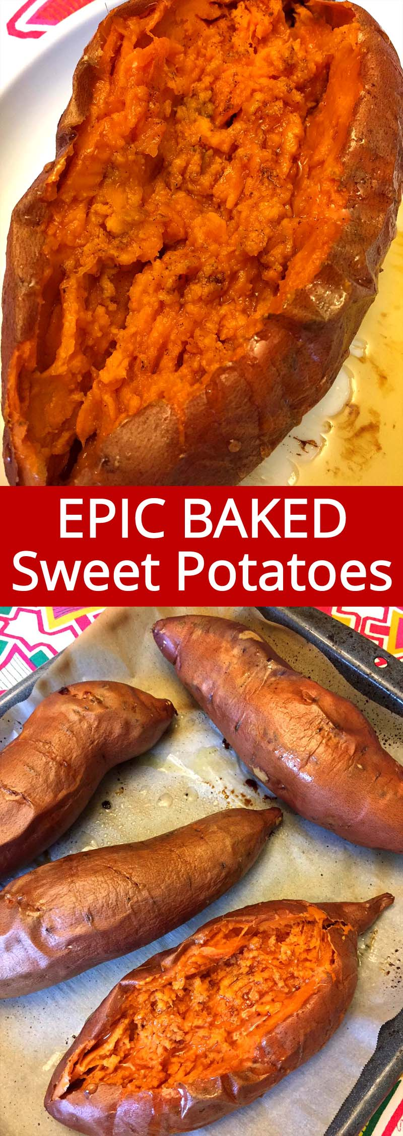 These perfect baked sweet potatoes are so easy to make and so delicious! Whole sweet potatoes are oven baked to perfection, they have such a soft creamy texture! Add some maple syrup and a dash of cinnamon, mmmm!