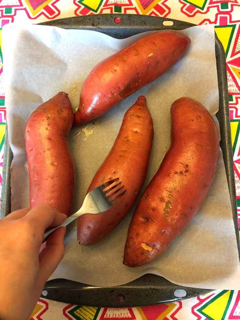 Pierce Sweet Potatoes With Fork