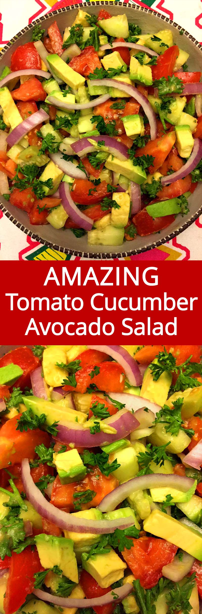 This tomato cucumber avocado salad is amazing! So full of flavor, crunchy and refreshing! Tomatoes, cucumbers, avocado, onions and parsley is such a great combo! I can eat this salad all day!