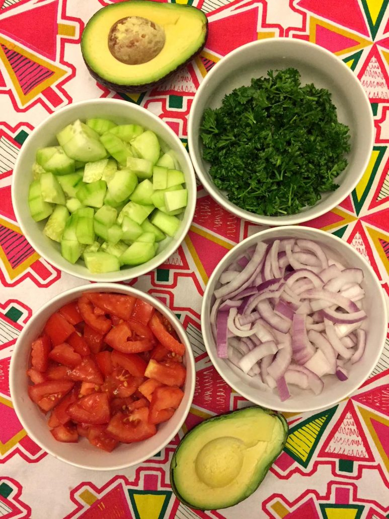Tomato Cucumber Avocado Onion Parsley Salad Ingredients