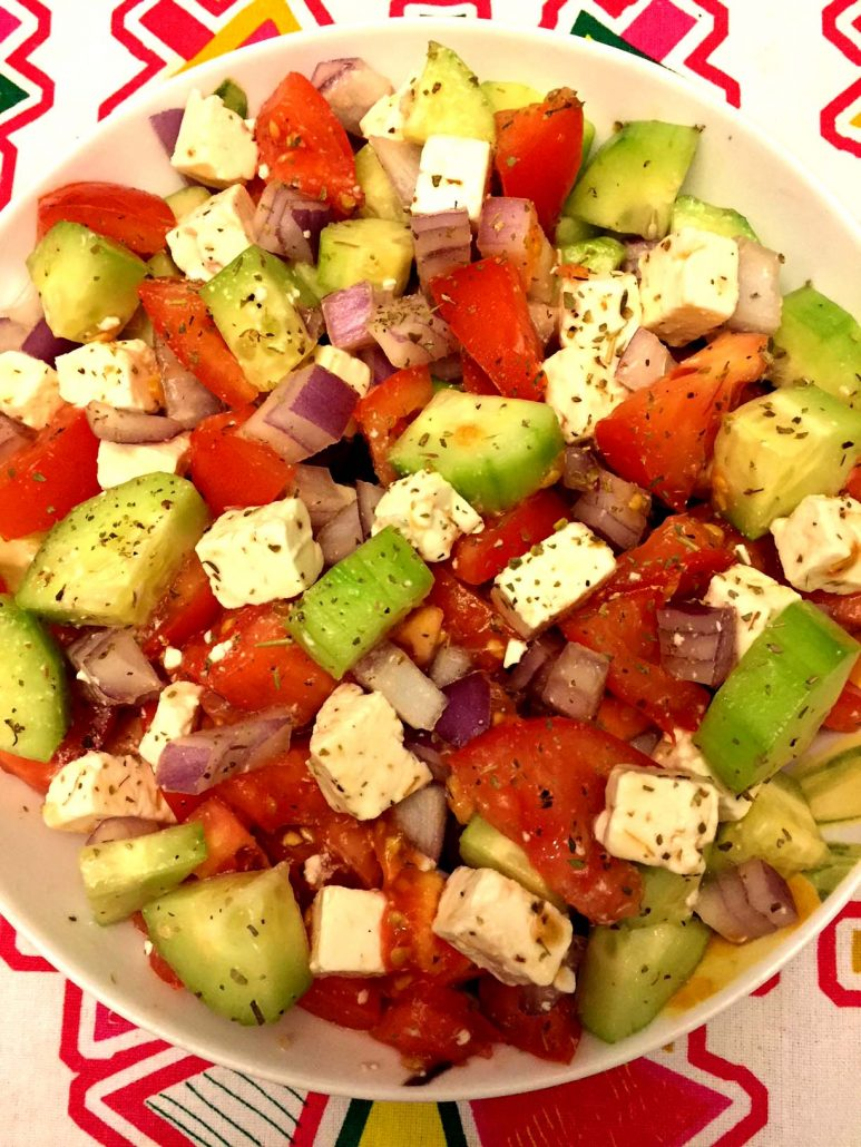Tomato Cucumber Feta Cheese Greek Salad Recipe – Melanie Cooks