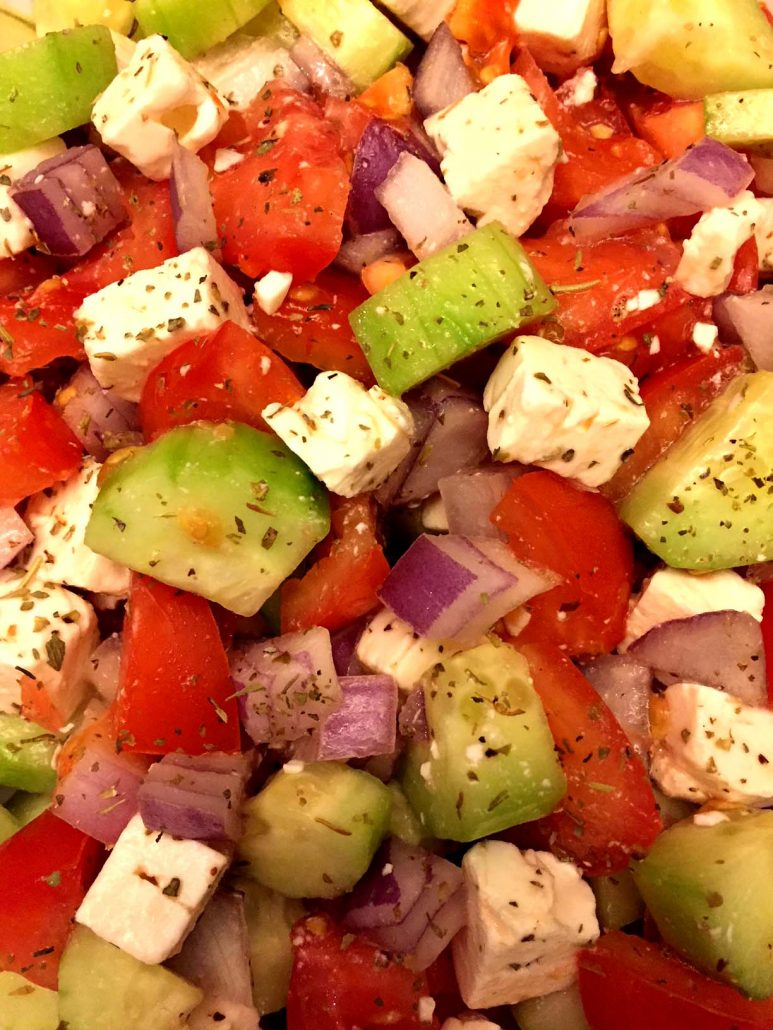 Tomatoes Cucumbers Onions Feta Cheese Easy Salad