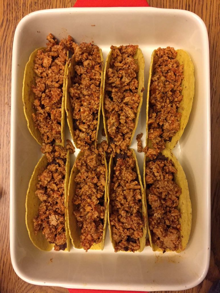 Baked tacos with ground beef or turkey