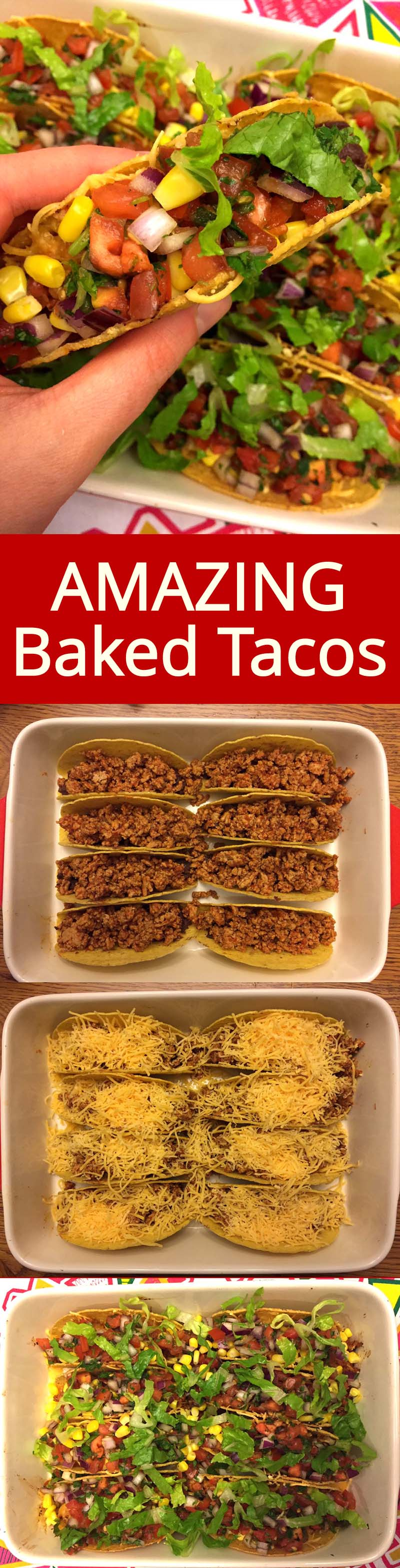 I love these oven baked tacos! What a perfect way to serve tacos for a crowd!  Tacos are assembled and warm, with melted cheese inside - just add the toppings!
