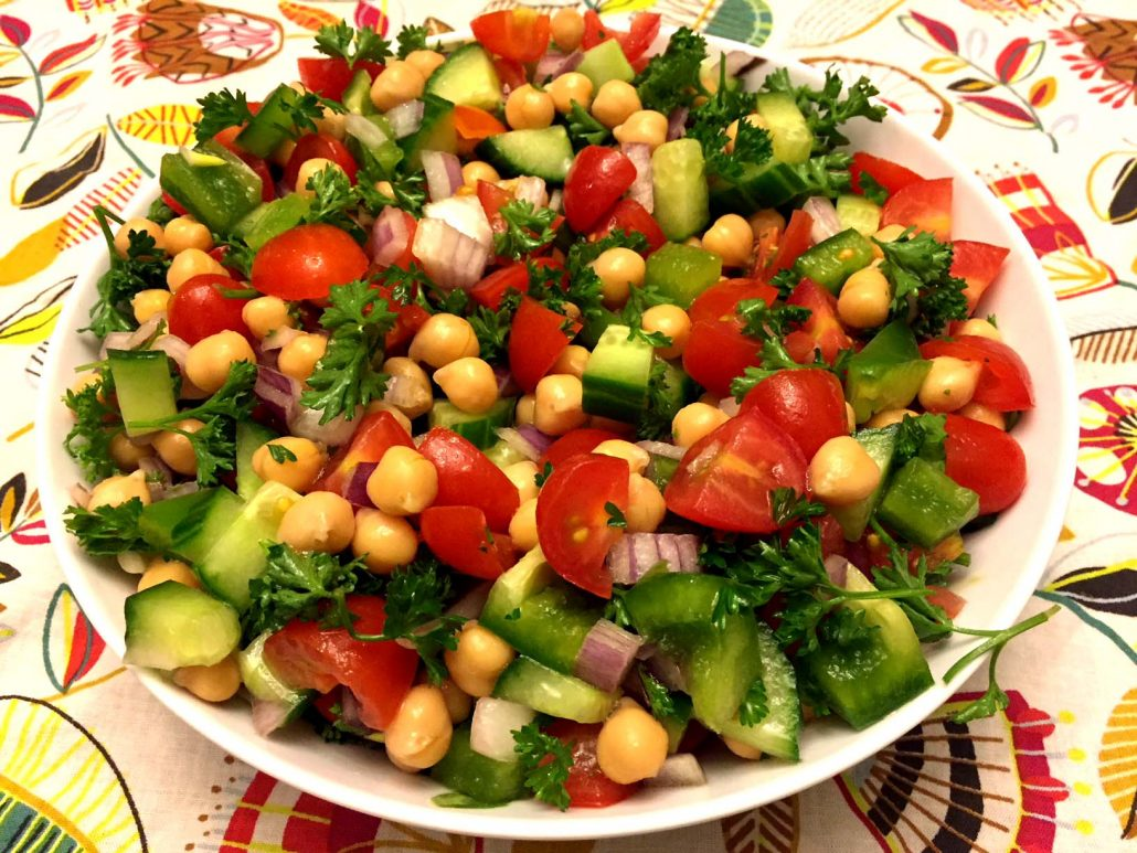 Tomato Cucumber Garbanzo Beans Salad