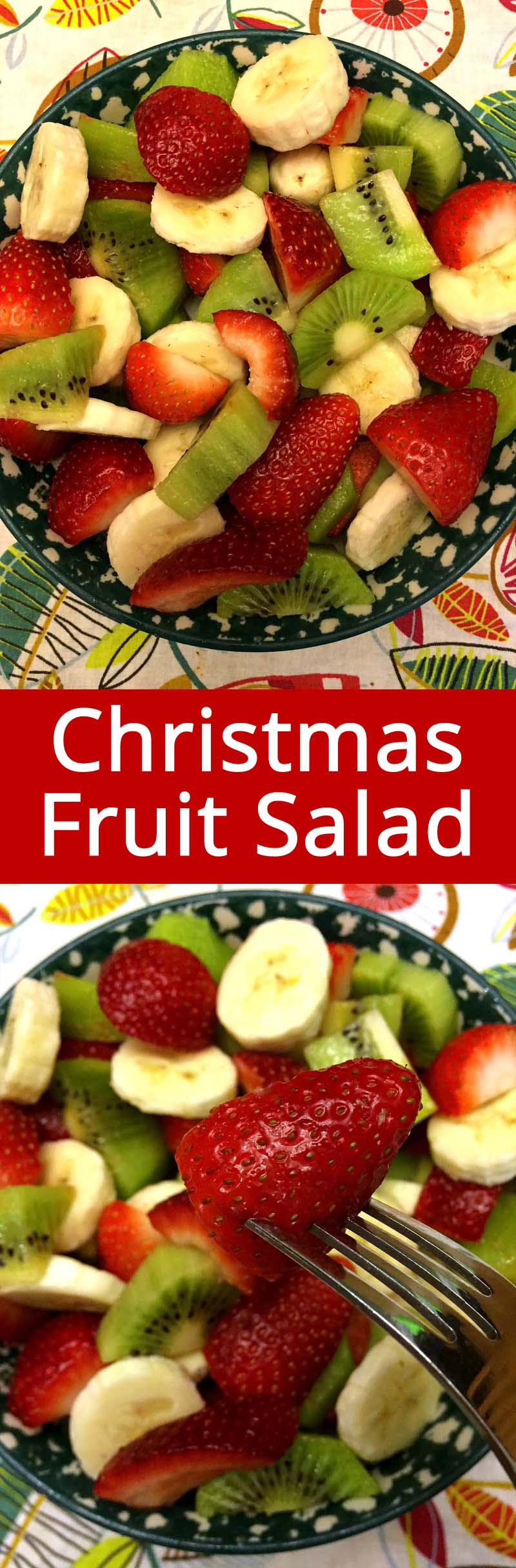 This red, green and white Christmas fruit salad is so bright, cheerful and delicious! Made with strawberries, kiwis and bananas, it's doesn't get any easier than that! I'll make this fruit salad every Christmas!