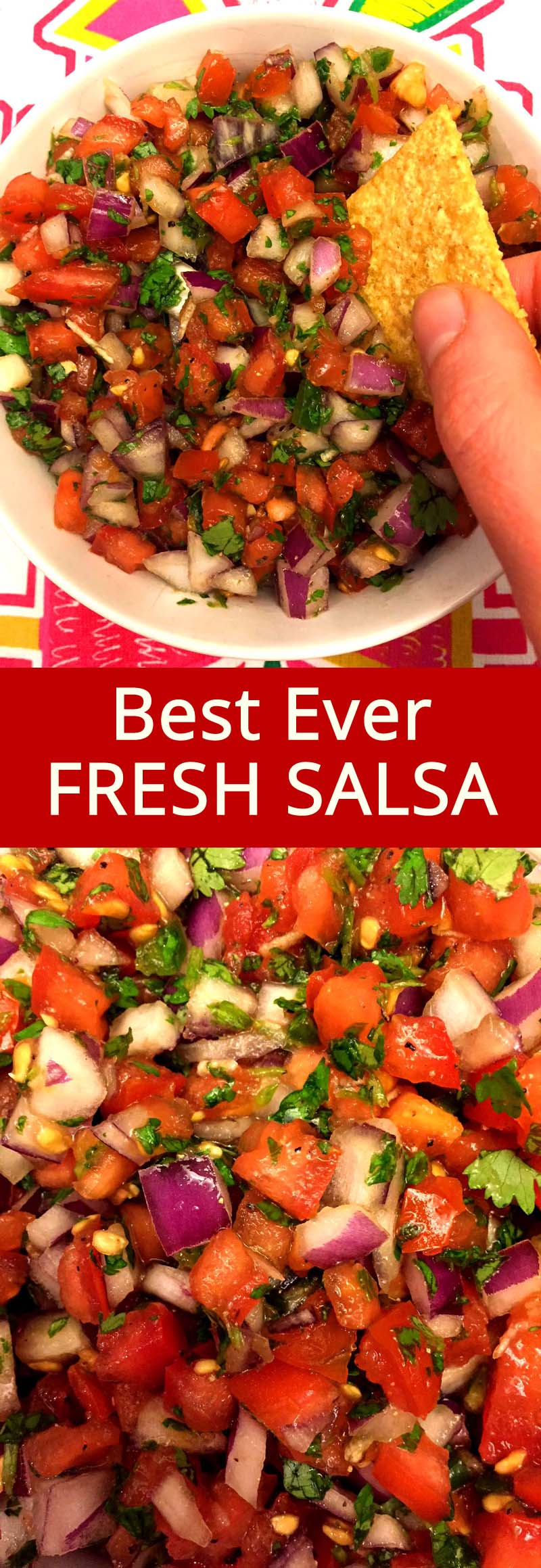 This Mexican pico de gallo fresh salsa is the best salsa ever! So fresh, colorful and delicious, bursting with flavor! Once you try this homemade pico de gallo, you'll never buy salsa at the store!