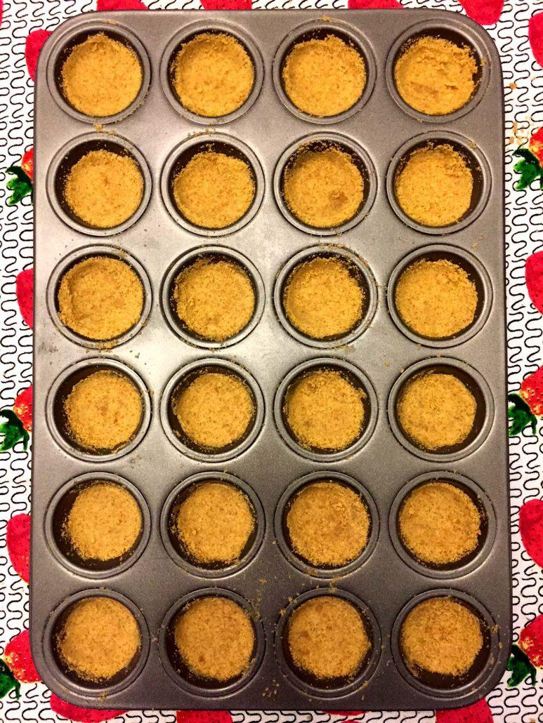 Graham cracker crusts in mini muffin cups