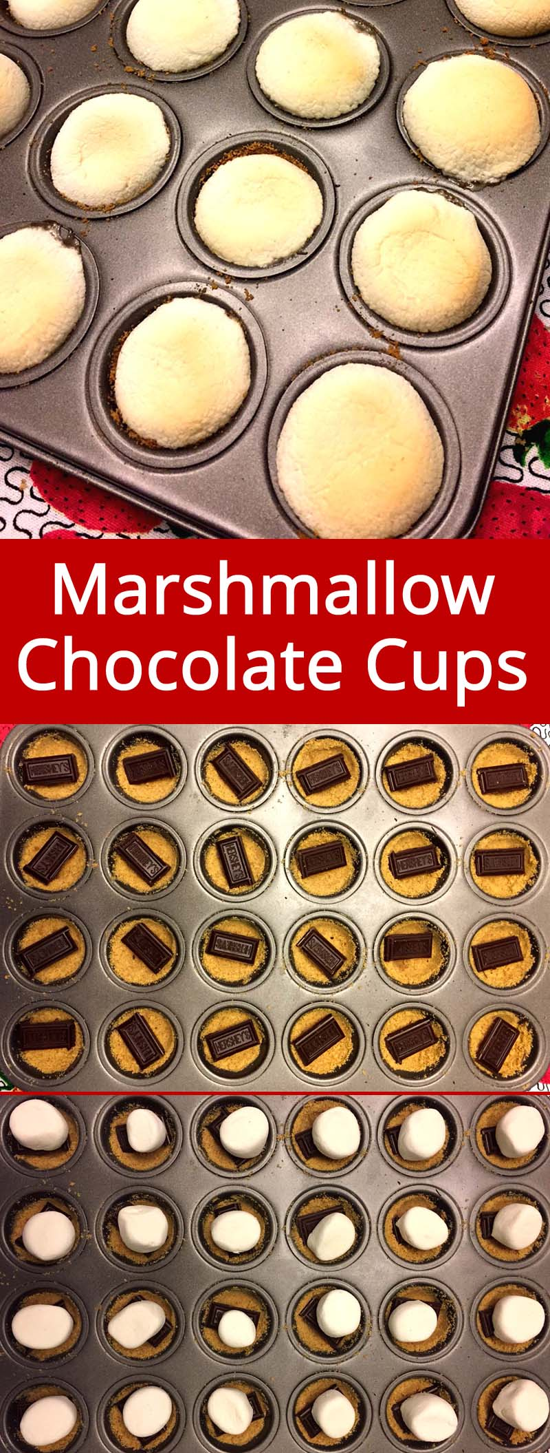 These cute little marshmallow chocolate cups are amazing! Made in a mini-muffin tin, it's like having s'mores in a cup! So easy to make, I love this recipe!