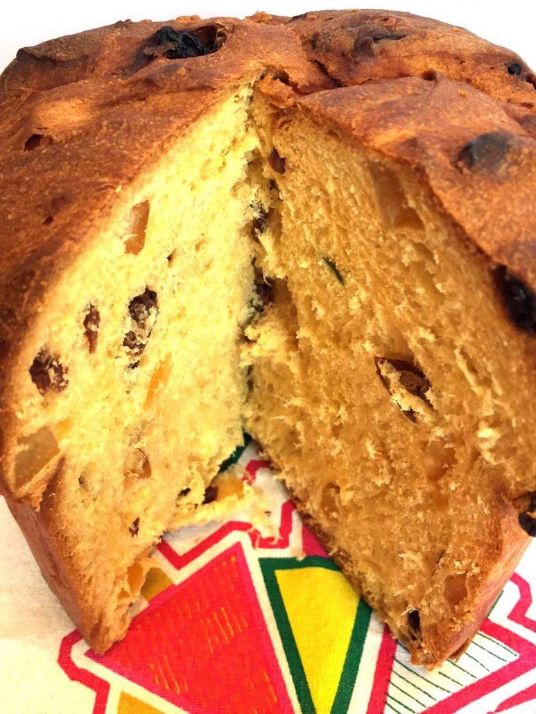Christmas Bread.Italian Panettone Bread Christmas Fruit Cake