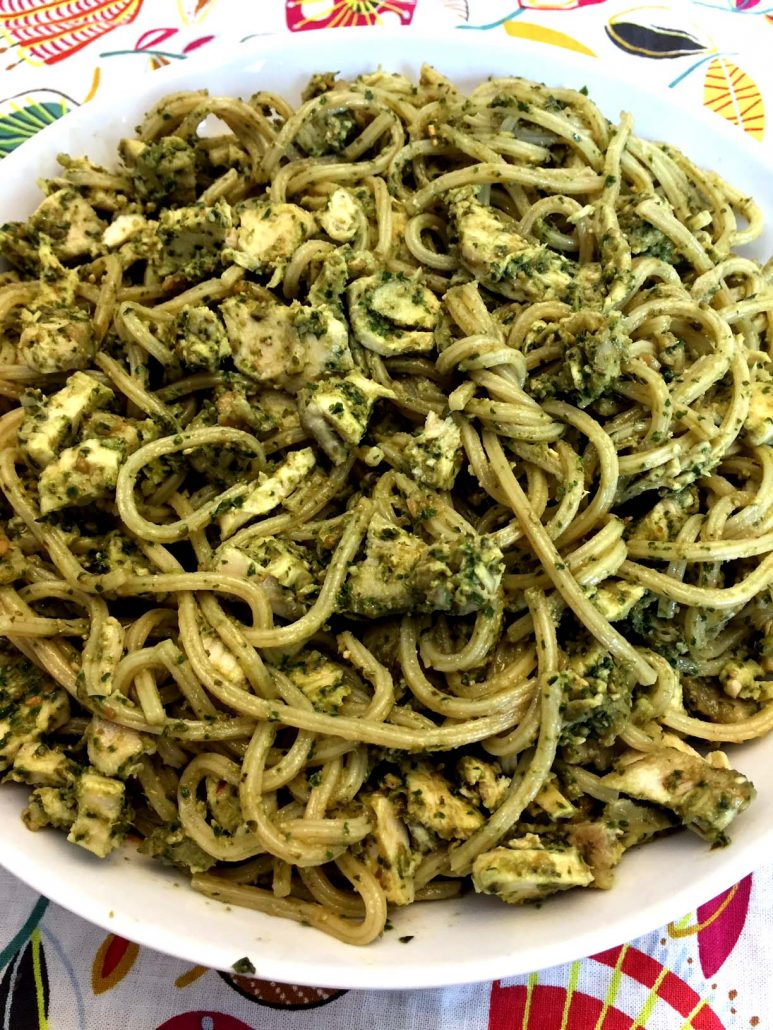 15 Minute Chicken Pesto Pasta Dinner