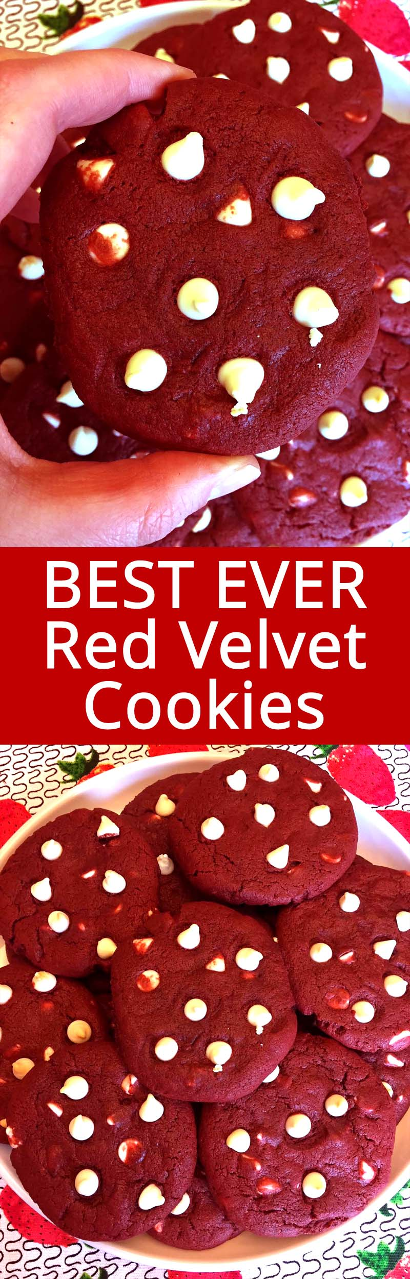 These red velvet cookies with white chocolate chips are simply amazing! They are so soft and delicious, you won't stop eating them until you eat the whole batch! Once you try this epic red velvet cookies recipe, you'll never make them any other way!