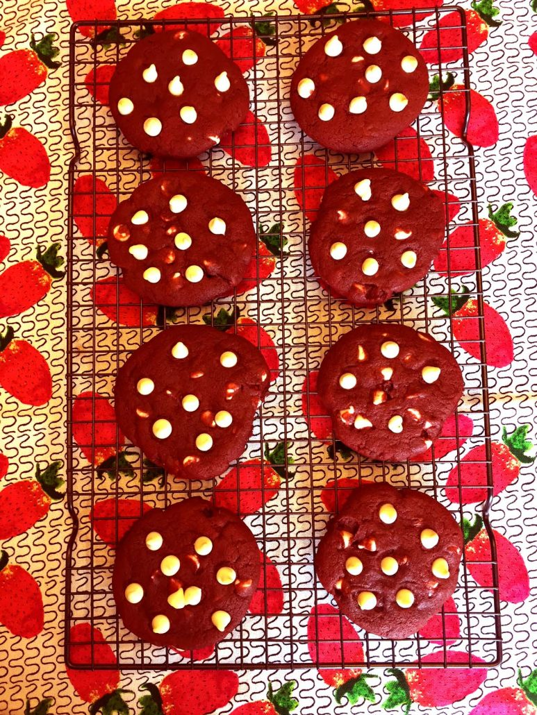 Baking Homemade Red Velvet Cookies