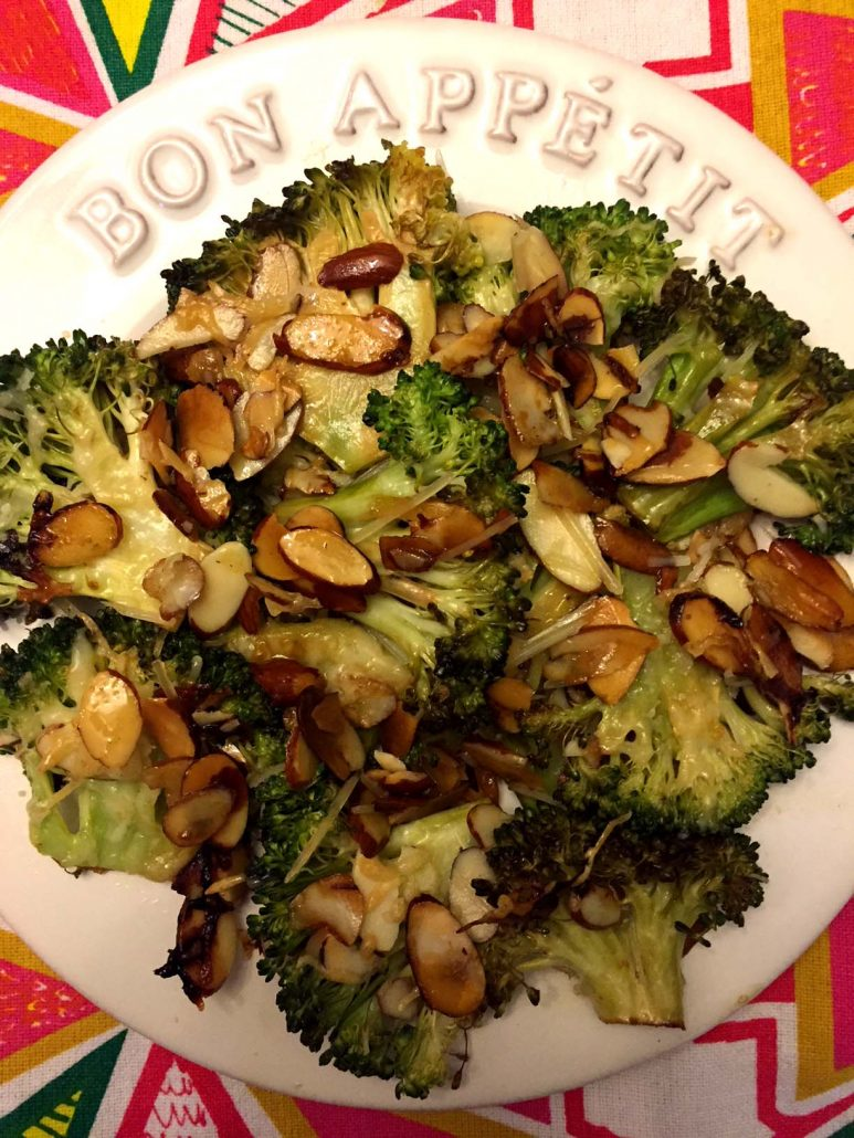 Caramelized Balsamic Roasted Broccoli With Parmesan And Almonds