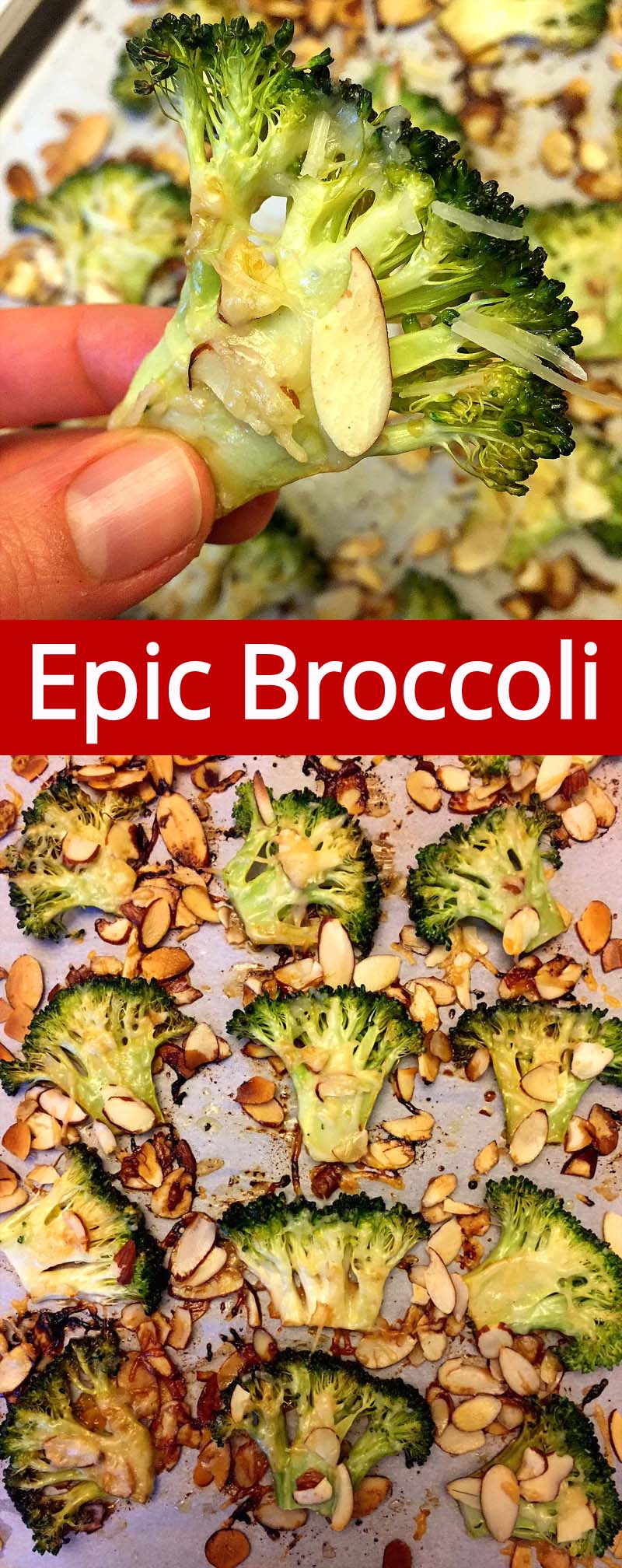 This is the best broccoli recipe ever! Caramelized balsamic roasted broccoli with Parmesan cheese and almonds tastes amazing! Once you try this epic broccoli, you'll never want to make it any other way!