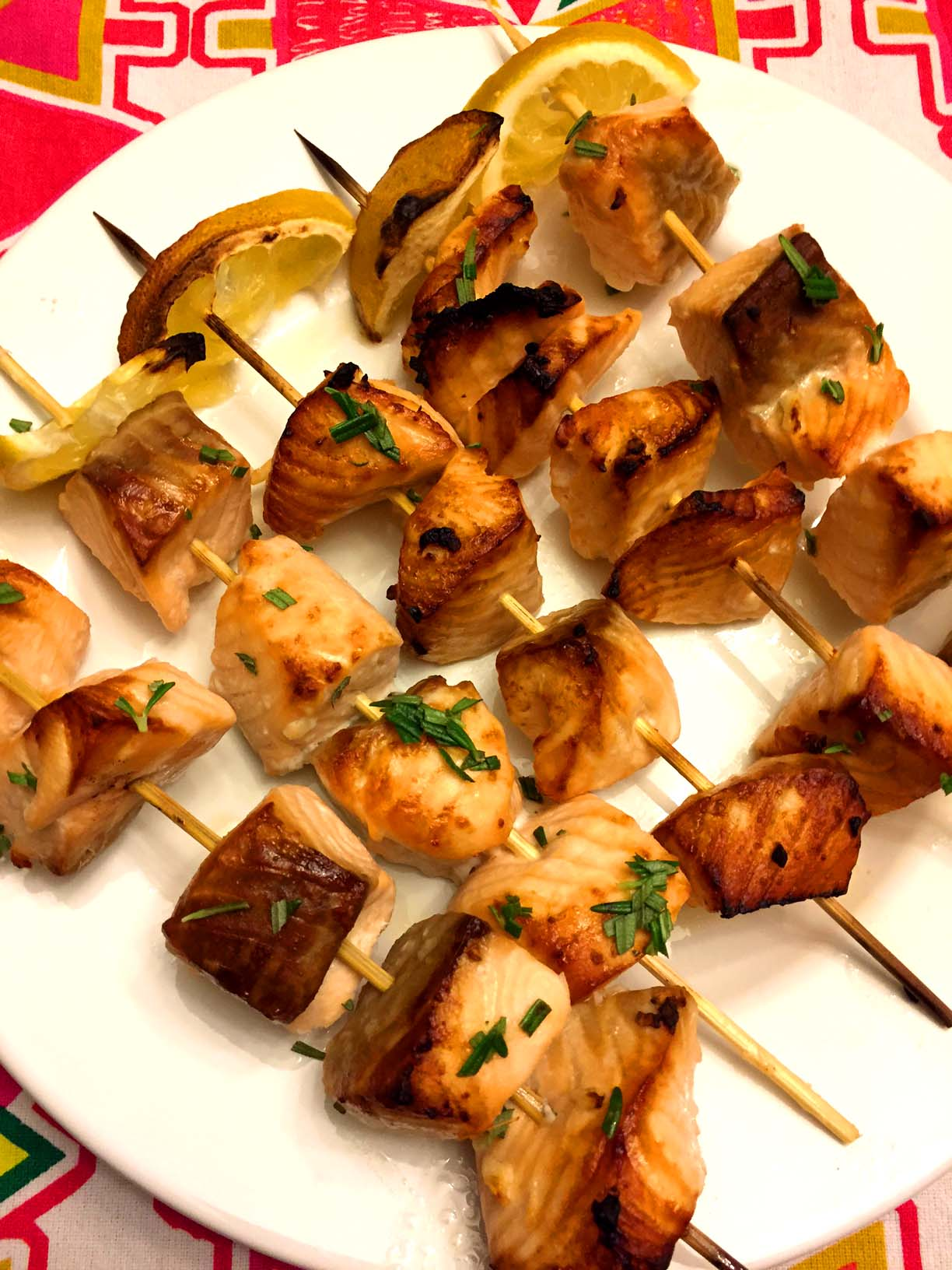 Easy Oven Baked Salmon Kabobs Skewers Recipe Melanie Cooks
