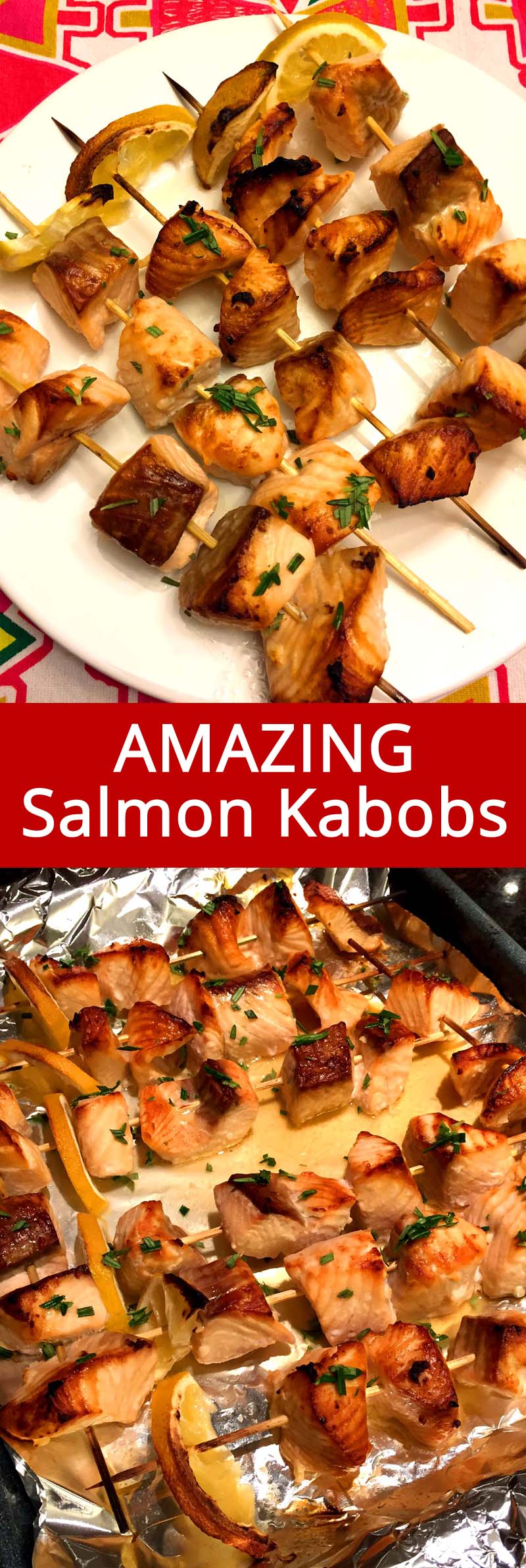 These easy baked salmon kabobs are amazing! Marinated salmon pieces threaded on a skewer and baked in the oven to perfection! So healthy and delicious!