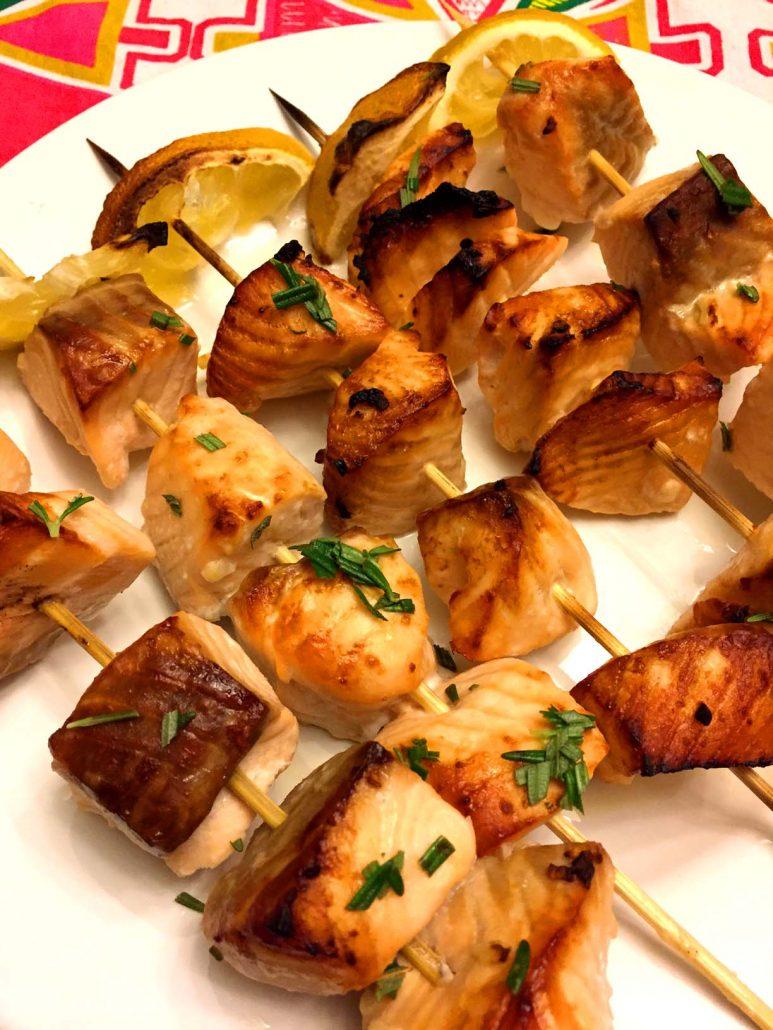 Healthy Broiled Salmon Skewers Recipe