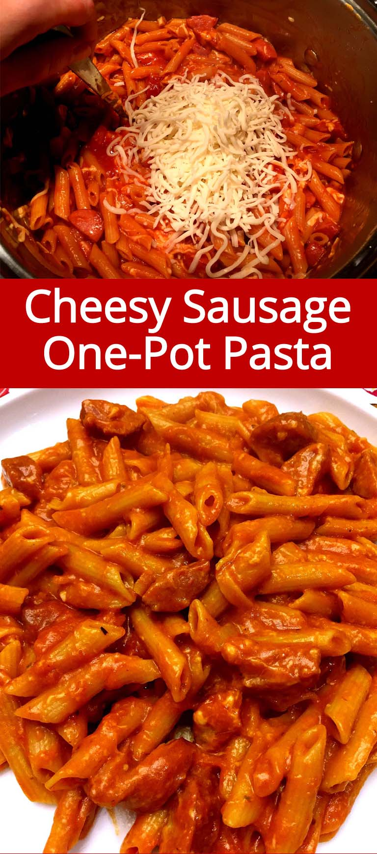 This cheesy sausage pasta is so mouthwatering! It has all my favorite ingredients in it :) Best of all, it's all made in one pot, one-pot pasta is the easiest dinner ever!
