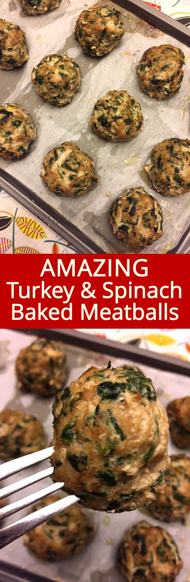 These turkey spinach meatballs are so healthy and delicious! Super easy to make, just add the spinach in the turkey meatball mixture, roll into meatballs and bake! I'm going to make these meatballs every week!