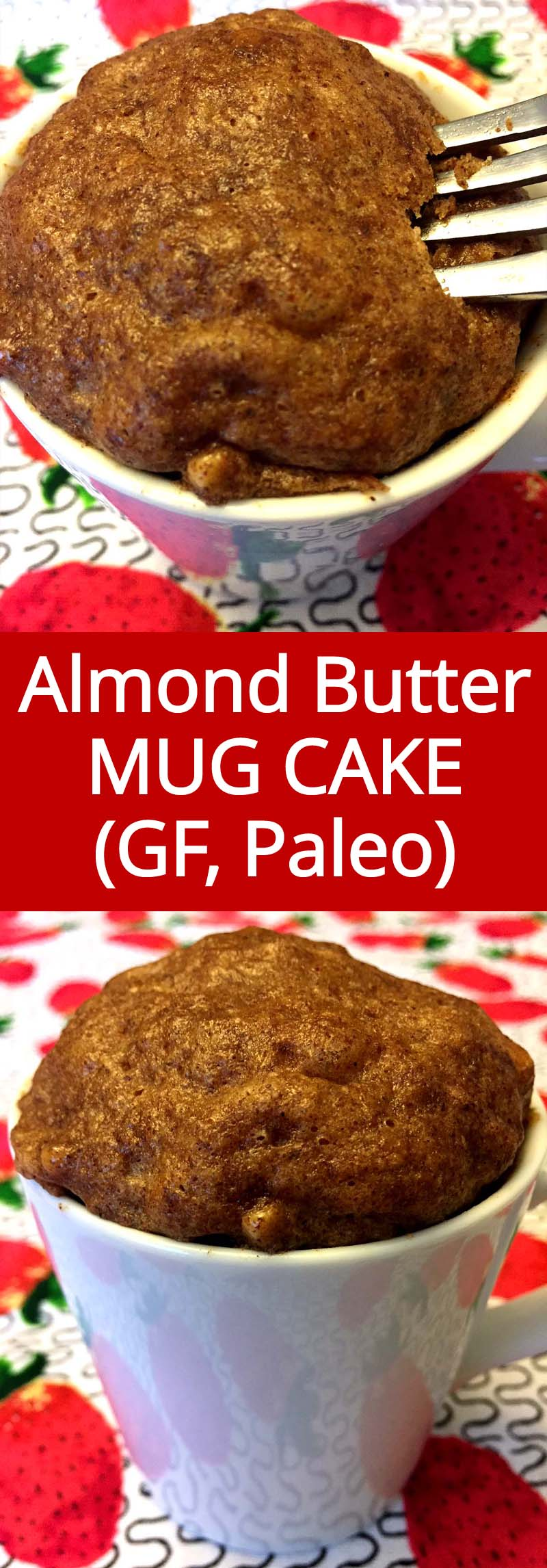 This almond butter mug cake is so delicious, I can't believe it's healthy! It's gluten-free, paleo, so easy to make and tastes amazing!  Tastes like a cinnamon muffin!