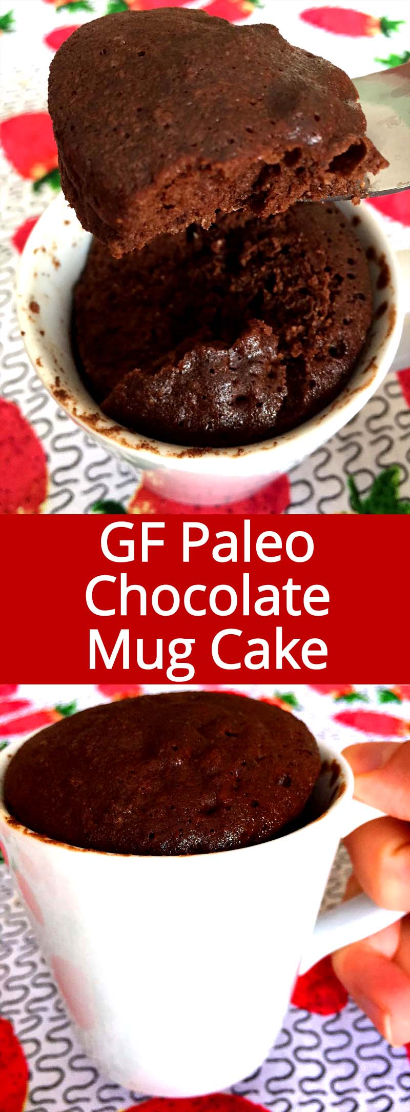 OMG this is the best paleo chocolate mug cake recipe ever!  This chocolate mug cake is so good and rich! Hard to believe it's healthy!!! It's high in protein, gluten-free and free of refined sugar - this chocolate cake is now my favorite breakfast!