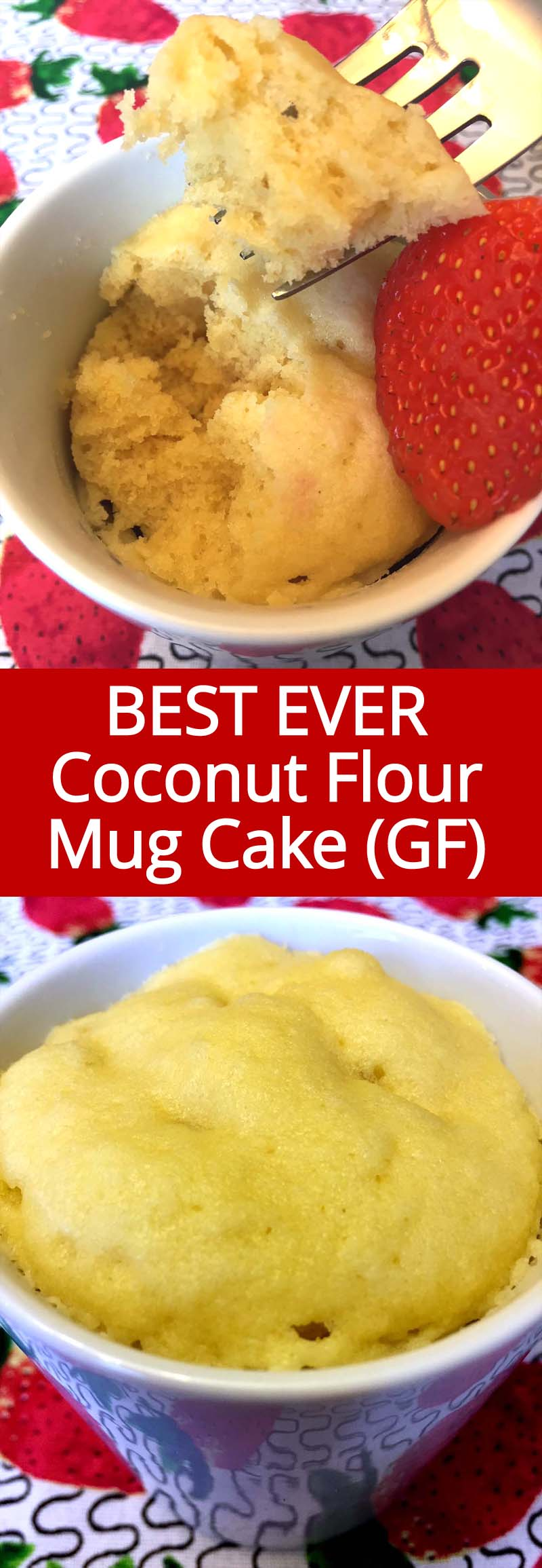 This gluten-free vanilla mug cake is made with coconut flour and tastes amazing! It is so soft and fluffy, this is my favorite vanilla mug cake ever!  That's a healthy breakfast I look forward to!