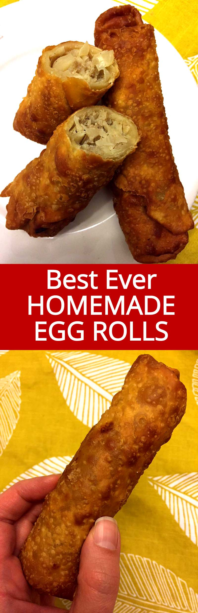 These homemade egg rolls taste exactly like the ones from a Chinese restaurant! Who needs takeout when you can make these easy egg rolls at home! So yummy!