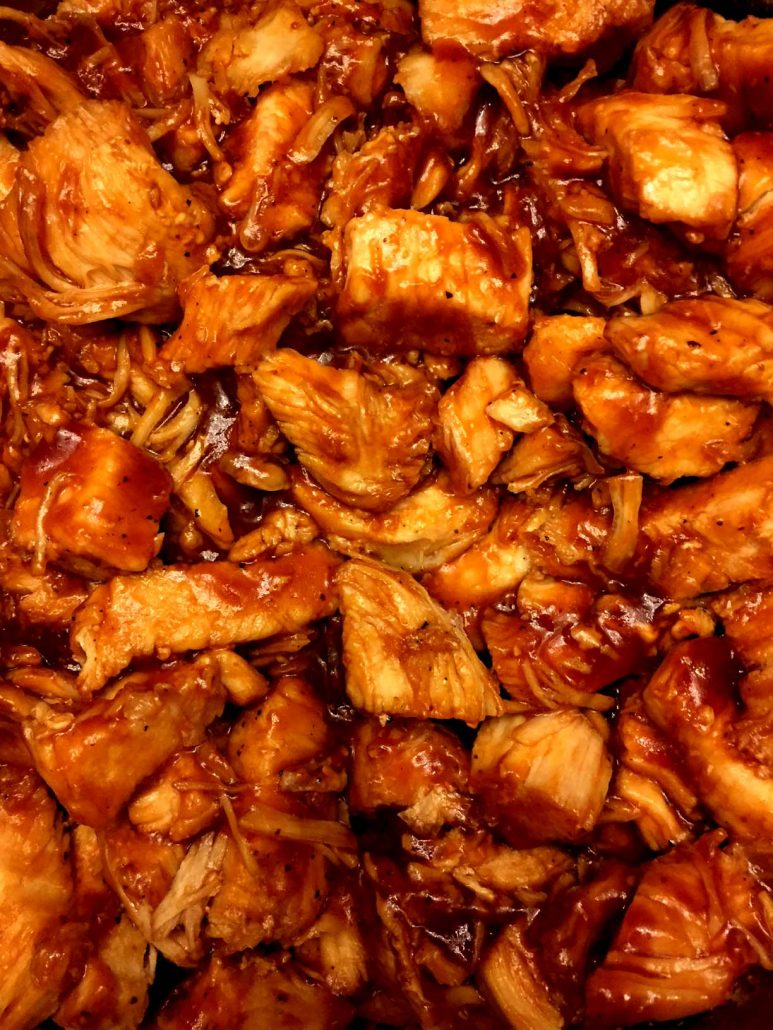 Chopped BBQ Chicken cooked in the Instant Pot pressure cooker