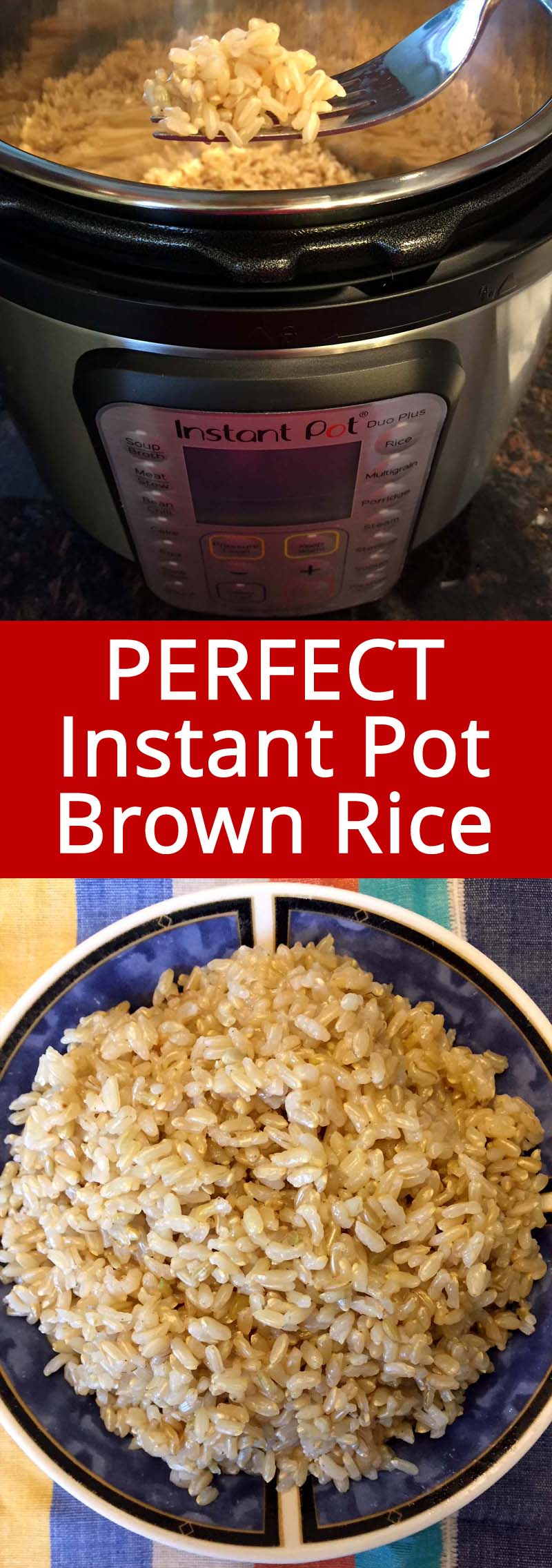This recipe makes perfect Instant Pot brown rice!  So easy and the rice comes out perfect! I now always use my Instant Pot to cook brown rice! #instantpot