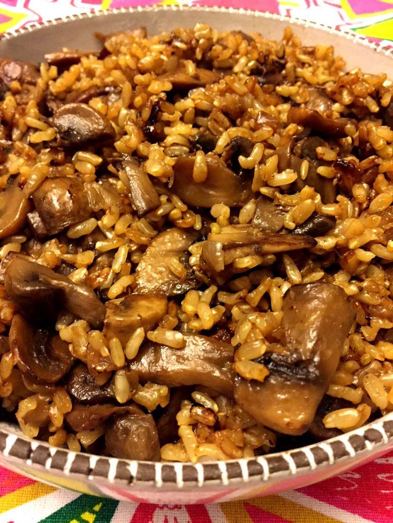 Mushroom Rice Made With Brown Rice