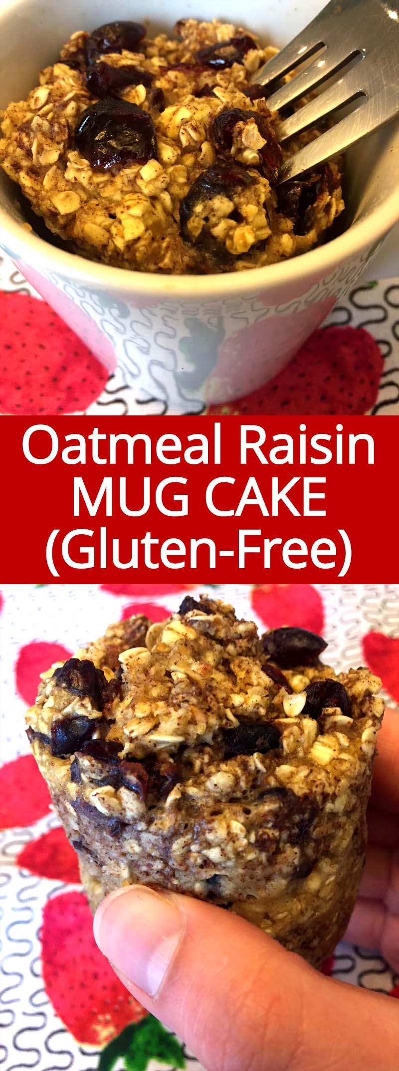 I love this gluten-free oatmeal raisin microwave mug cake! So easy to make, healthy and delicious! It's like cinnamon oatmeal raisin baked oatmeal in a mug!