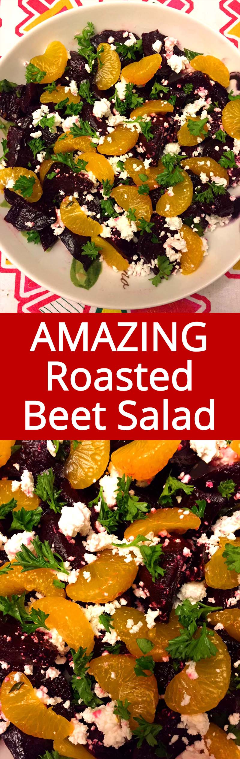 I love this roasted beet salad! Roasted beets go so well together with feta cheese and orange slices! This is my favorite recipe that uses beets!