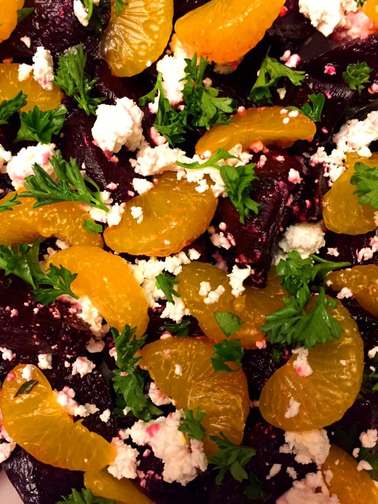 Salad With Roasted Beets And Feta Cheese