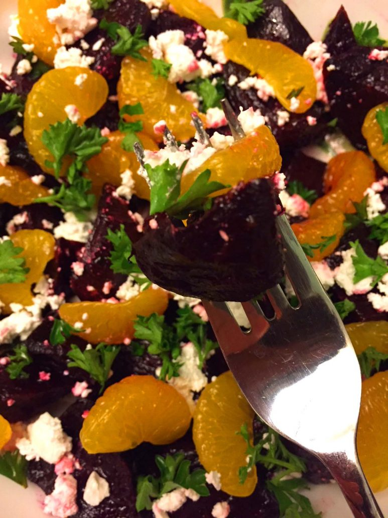 Roasted Beets With Parsley And Feta Cheese And Oranges