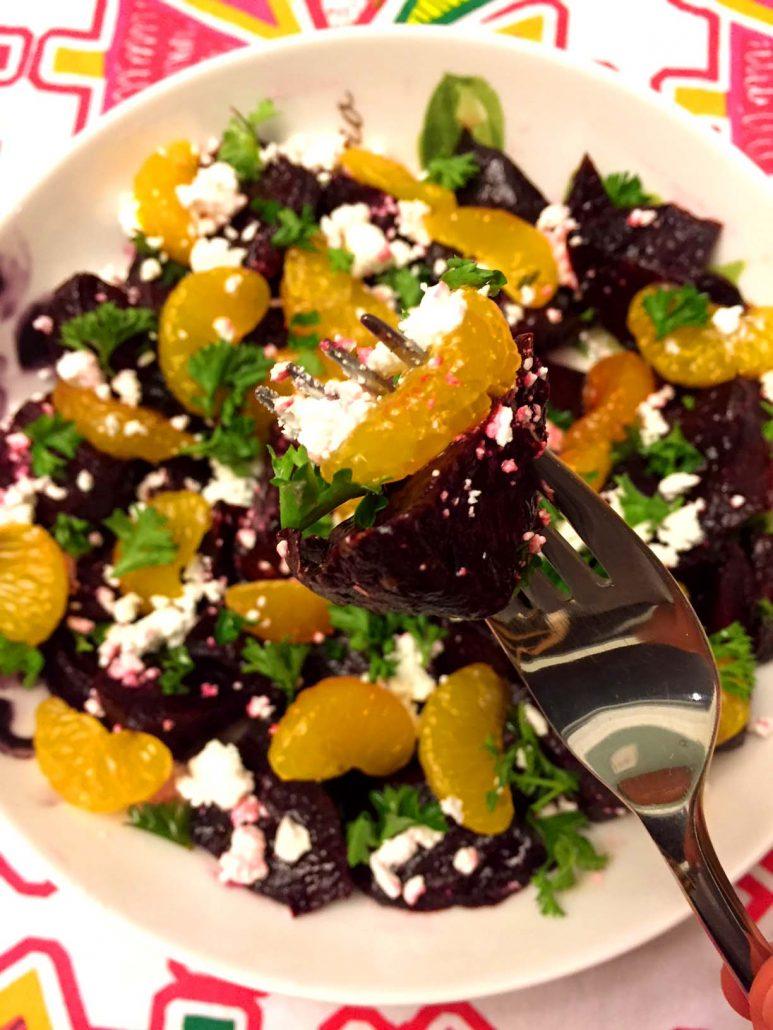Easy Roasted Beet Feta Salad