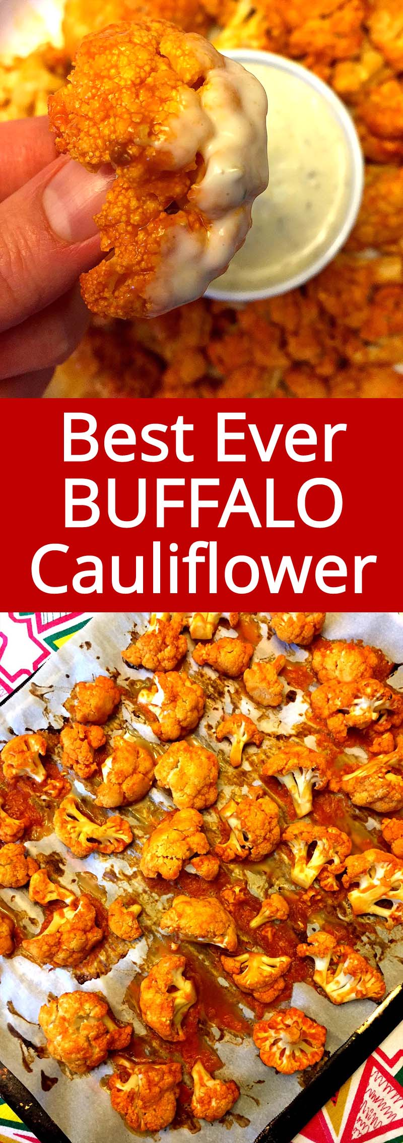 Everyone loves with Buffalo cauliflower!  This Buffalo Cauliflower is baked in the oven and is so healthy! Super addictive and great with Ranch for dipping!