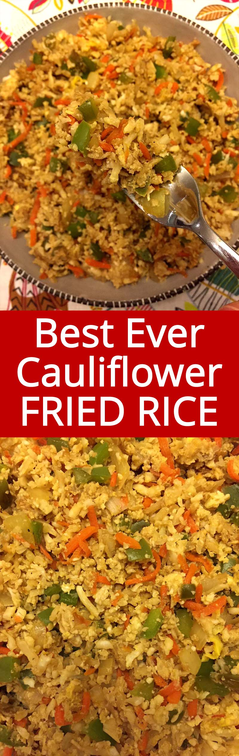 OMG this cauliflower fried rice is AMAZING! We all couldn't stop eating it! It tastes like real fried rice, best recipe ever!