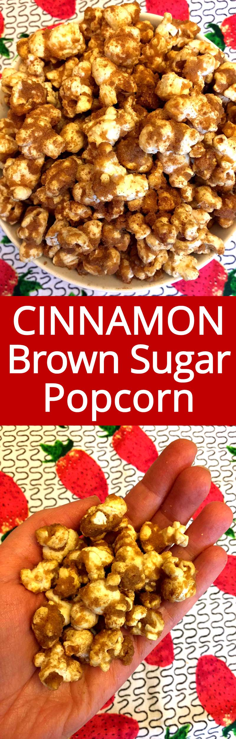 This homemade cinnamon brown sugar popcorn is so addictive! I just can't stop eating it!