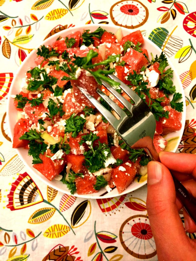 Watermelon Feta Parsley Salad