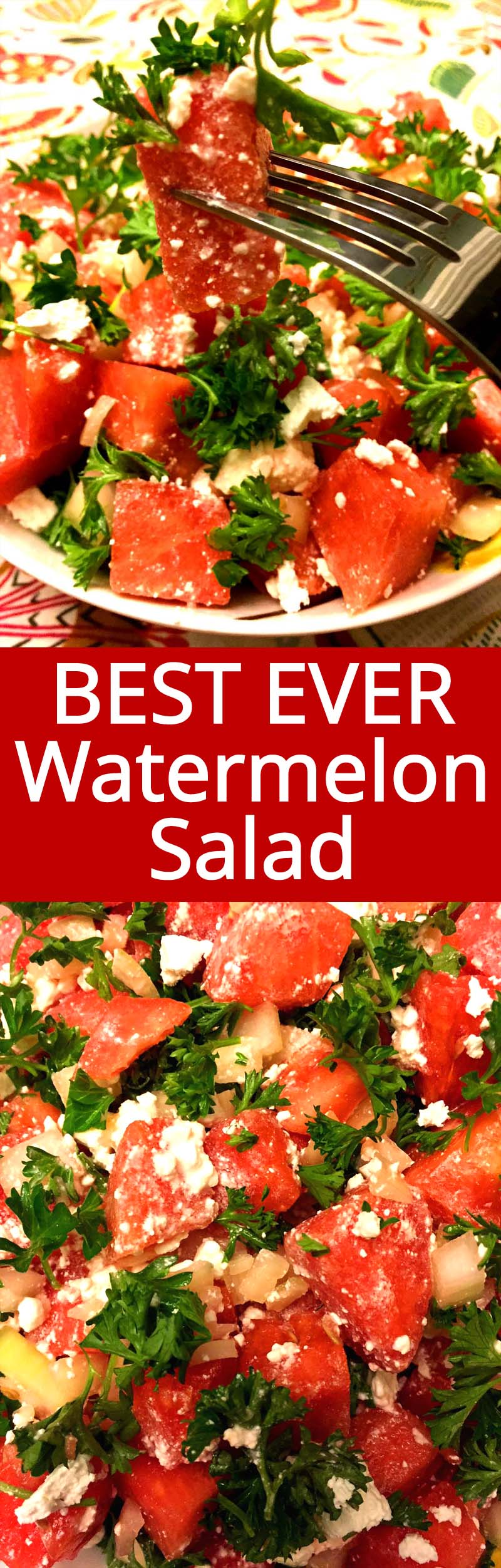 I never thought of pairing watermelon with savory food, but it tastes so good with feta! I LOVE THIS COMBO! This watermelon feta salad is amazing, so refreshing!