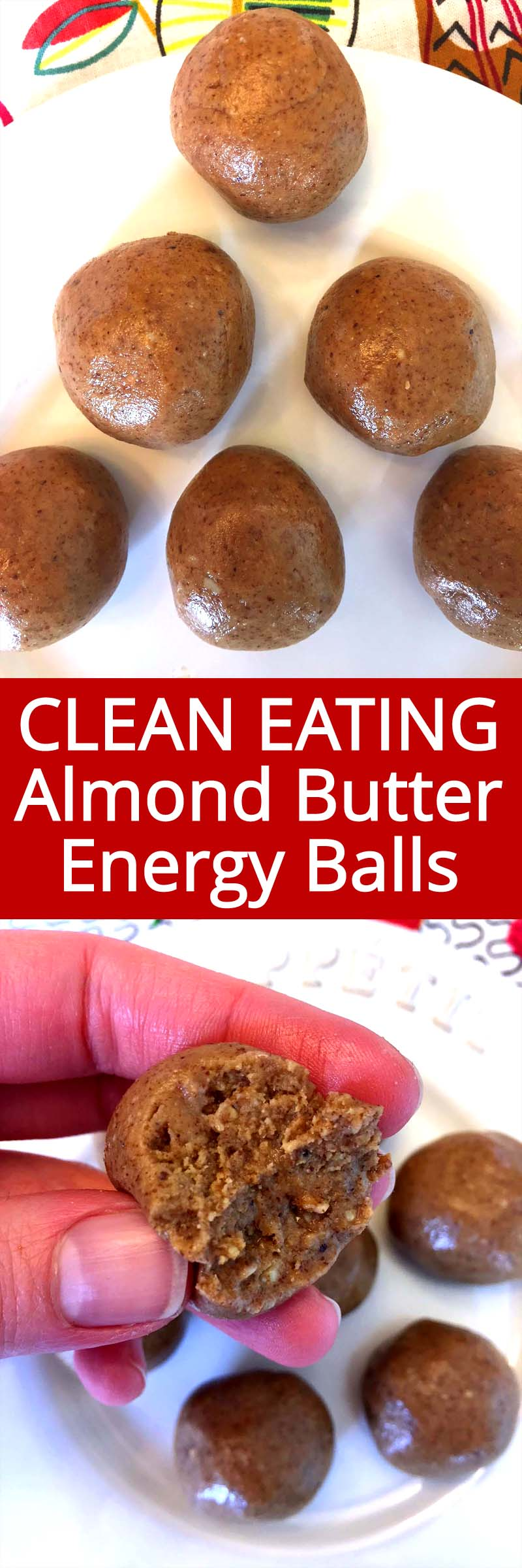I love these almond butter energy balls! So full of protein, they keep me full for hours! Perfect for a healthy snack on the go!